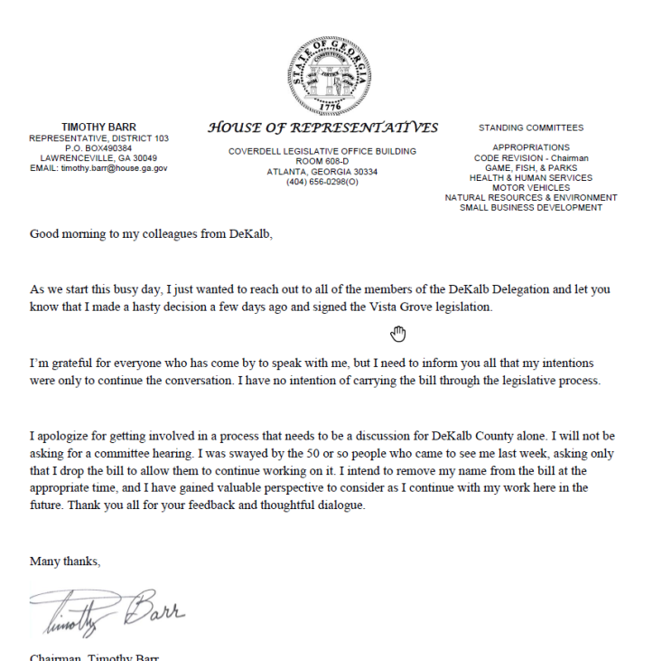Republican Georgia State Representative Timothy Barr's letter to the DeKalb delegation removing his name off of the Vista Grove bill